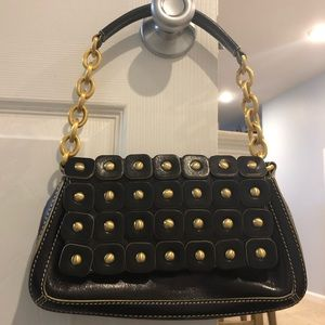 Maxx New York Black leather bag with Gold accents
